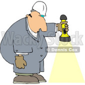 Male Worker Shining a Flashlight Towards the Ground Clipart © djart #4432