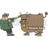 Cowboy Rancher Trying to Move One of His Cow's Clipart © djart #4433