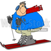 Overweight Man Snow Skiing Down a Winter Ski Slope Covered with Snow Clipart © djart #4437