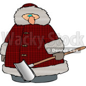 Overweight Man Wearing a Big Winter Coat and Holding a Snow Shovel Clipart © Dennis Cox #4438