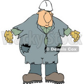 Male Worker Wearing Old Coveralls and a White Hard Hat Clipart © Dennis Cox #4439