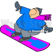Happy Man Snowboarding Down a Hill Covered with Snow During the Winter Season Clipart © djart #4440