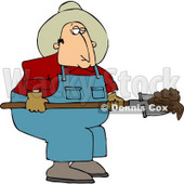 Cowboy Rancher Scooping Cattle Dung with a Shovel Clipart © djart #4441