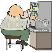 Male Gambler Playing the Slot Machine in a Casino Clipart © Dennis Cox #4442