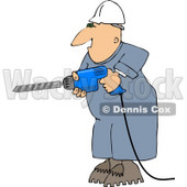 Male Construction Worker Drilling Into a Wall Clipart © djart #4444