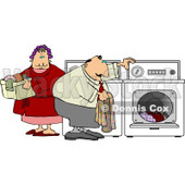 Overweight Man and Woman Washing Clothes Together On Laundry Day Clipart © djart #4446