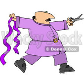 Male Ribbon Designer with Purple Ribbon and Scissors Clipart © djart #4448