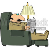 Man Sitting On a Recliner In His Livingroom, Reading the Local Newspaper Clipart © Dennis Cox #4449