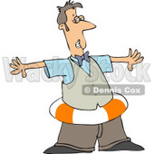 Man Wearing a Life Preserver Around His Waist Clipart © djart #4450