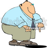 Businessman Pointing at an Uncovered Manhole Clipart © djart #4452