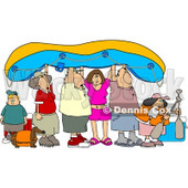 Friends and Family Going River Rafting Clipart © Dennis Cox #4454