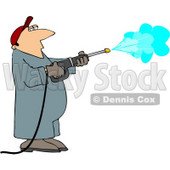 Pressure Washer Man Spraying Down a Wall Clipart © djart #4455