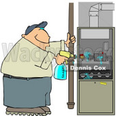 Man Spraying a Cleaning Solvent On a Standard Household Furnace Clipart © djart #4456
