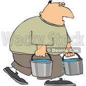 Tired Man Carrying Buckets of Water Clipart © djart #4458