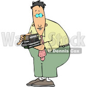 Nerd with Buckteeth Wearing Glasses and Carrying Books Clipart © djart #4459