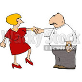 Wife Trying to Get Her Husband to Dance Clipart © Dennis Cox #4460