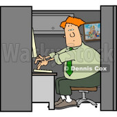 Computer Programmer Working at a Business Firm On a Computer in His Cubicle Clipart © Dennis Cox #4462