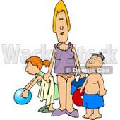 Single Parent Trying to Have Fun at the Beach with Her Children Clipart © djart #4465