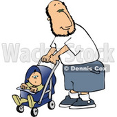 Happy Single Father Pushing His Baby Boy in a Stroller Clipart © djart #4470