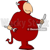 Devil Holding a Fork and Knife Clipart © Dennis Cox #4475