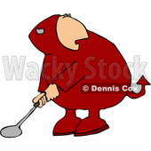 Devil Playing Golf Game Clipart © Dennis Cox #4477