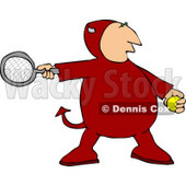 Devil Playing Tennis Game Clipart © Dennis Cox #4481