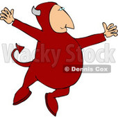 Devil Jumping Up In the Air Clipart © Dennis Cox #4484
