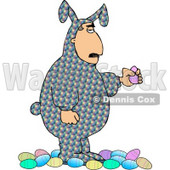 Man Wearing an Easter Costume and Holding a Decorated Easter Egg Clipart © djart #4485