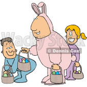 Single Father Wearing an Easter Bunny Costume and Participating in an Easter Egg Hunt with His Son & Daughter Clipart © djart #4487