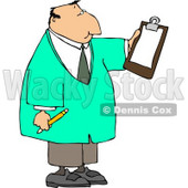 Male Doctor Reading Checklist On Clipboard and Holding a Pencil Clipart © Dennis Cox #4490