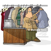 Dry Cleaner Standing Beside Clothing and Cash Register Clipart © Dennis Cox #4491