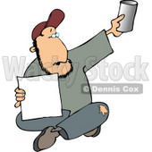 Homeless Man Begging for Money Clipart © Dennis Cox #4492