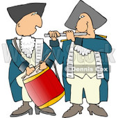 American Revolutionary War Drummer and Flute Player Clipart © Dennis Cox #4497