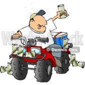 Drunk Man Sitting On a Four Wheeled All-Terrain Vehicle (ATV) Clipart © djart #4498