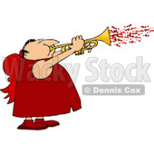 Man Wearing Valentine Cupid Costume and Blowing Love Hearts from a Trumpet Clipart © Dennis Cox #4499