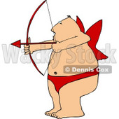 Overweight Man Wearing Valentine Cupid Costume While Aiming a Bow an Arrow Clipart © Dennis Cox #4502