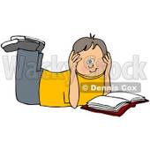 Clipart Illustration of a Boy Laying On His Belly And Reading A Book, Resting His Head In His Hands © Dennis Cox #45026