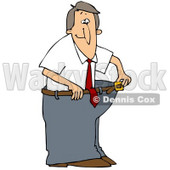 Clipart Illustration of a Skinny Man Wearing His Fat Pants, Holding The Belt Away From His Waist © Dennis Cox #45027