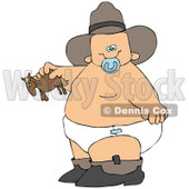 Clipart Illustration of a Chubby Cowboy Baby In Boots, A Hat And Diaper, Holding A Toy © djart #45028