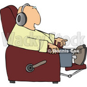 Man Sitting In a Recliner and Wearing Earphone Clipart © Dennis Cox #4503