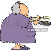Obese Woman Cooking Breakfast Eggs In a Skillet Clipart © djart #4504