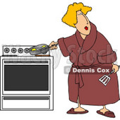 Overweight Woman Cooking Eggs In a Skillet On a Stove Clipart © Dennis Cox #4505