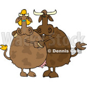 Male and Female Cows Dancing Together Clipart © Dennis Cox #4506