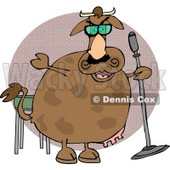 Cow Doing Stand-up Comedy Clipart © Dennis Cox #4508