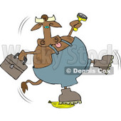 Repairman Cow Slipping On a Banana Clipart © Dennis Cox #4512