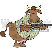 Camouflaged Cow Holding a Hunting Rifle Clipart © Dennis Cox #4514