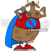 Strong Superhero Cow Wearing a Cape and Flexing Arm Muscles Clipart © djart #4516
