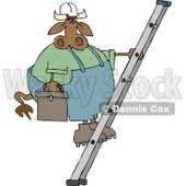 Repairman Cow Climbing Up a Ladder with a Toolbox Clipart © Dennis Cox #4520
