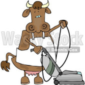 Housewife Cow Vacuuming the Floor Clipart © Dennis Cox #4522