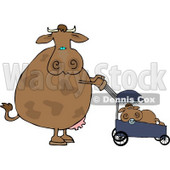 Mom Cow Pushing Her Calf in a Baby Stroller Clipart © Dennis Cox #4524